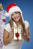 Frau mit Weihnachtsgeschenk Lizenzfreie Stockbilder