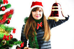 Frau mit Weihnachtsglocke Stockbild