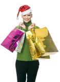 Frau mit Weihnachtshut Stockfoto