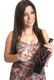 Frau mit Wein stockfoto
