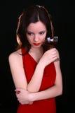 Frau mit Wein lizenzfreie stockbilder