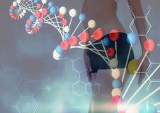Frau mit wenigem Ball und roter und blauer DNA-Kettenüberlagerung Stockbilder