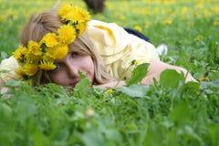 Frau mit Wreath Lizenzfreies Stockbild