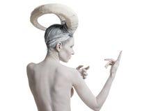 Frau mit Ziegenkörperkunst Stockbild