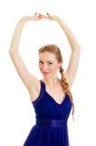 Frau mit Zopf im blauen Kleid Stockfoto
