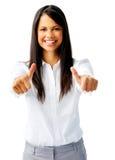 Frau mit zwei Daumen oben stockfotos