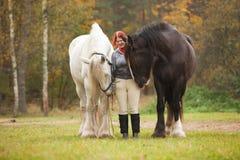Frau mit zwei Pferden lizenzfreies stockfoto