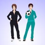 Frau mit zwei Sport mit einem Fußball Stockfotos