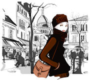 Frau in Montmartre-Quadrat Stockbild