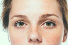 Frau mustert Studioschönheits-Porträtsommersprossen mit dem langen Haar Lizenzfreies Stockbild