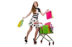 Frau nach dem Einkauf Lizenzfreie Stockfotos