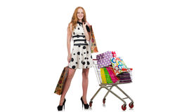 Frau nach dem Einkauf Stockbilder