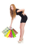 Frau nach shopping spree Stockbilder