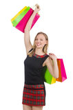 Frau nach shopping spree Stockfotos