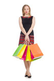 Frau nach shopping spree Stockfoto
