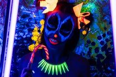 Frau Neon-Halloween bilden Lizenzfreies Stockbild