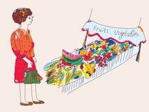 Frau am Obst und Gemüse am Markt vektor abbildung