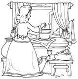 Frau pflanzt einen Mais (Fairy-tale âThumbelinaâ) Stockfotografie