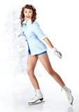 Frau Pin-oben, die zum Eiseislauf geht lizenzfreie stockfotos