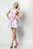 Frau posng im in voller Länge im Kleid Stockfotos
