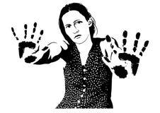 Frau-prägt von den Händen Stockfotografie