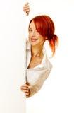 Frau Redhead über Weiß Stockbilder