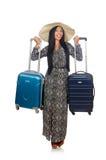 Frau in reisendem Konzept auf Weiß Lizenzfreies Stockfoto