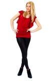 Frau in Rotem und in Schwarzem auf Weiß Lizenzfreie Stockfotografie