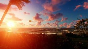 Frau runnin auf dem Strand, dem Luft Ballon und dem Yachtsegeln gegen schönen Sonnenaufgang vektor abbildung