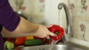 Frau ` s übergibt waschendes Gemüse in der Wanne in der Küche stock video footage
