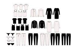 Frau ` s Garderobenelemente für Kombination Satz Vektorfrau ` s Kleidung Kapsel-Garderobe Technische Skizzen Stockbilder