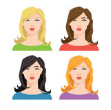 Frau ` s Gesicht mit unterschiedlicher Haarfarbe Lizenzfreie Stockfotografie