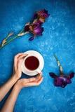 Frau ` s Hände auf dem blauen Zementhintergrund, der Schale schwarzen Tee hält Stockbild
