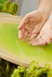 Frau \ 's-Hände in der grünen Flüssigkeit am Badekurort Lizenzfreies Stockfoto