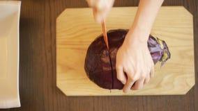 Frau ` s Hände mit einem Messer schnitten Rotkohlsalat stock footage