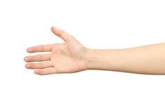 Frau ` s Hand, die bereit ist, ein Abkommen zu machen Lizenzfreies Stockbild