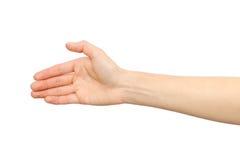 Frau ` s Hand, die bereit ist, ein Abkommen zu machen Stockfotografie