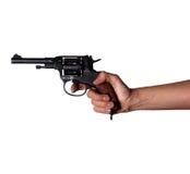 Frau ` s Hand mit einem Gewehr lizenzfreies stockfoto