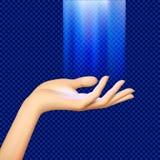 Frau ` s Handpalme oben belichtet durch blaues transparentes Licht von lizenzfreie abbildung