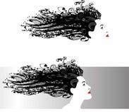Frau ` s Kopf mit dem freifließenden Haar lizenzfreie abbildung