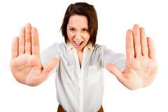 Frau sagt Halt Stockbilder