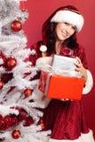 Frau Santa Claus With Christmas Tree Stockbild