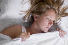 Frau schlafend Stockfotografie