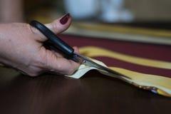 Frau schneidet das Gewebe stockfotografie