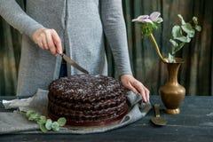 Frau schneidet Schokoladenkuchenabschluß Dunkle Töne stockbild