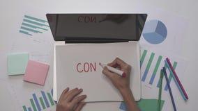 Frau schreiben INHALT auf Blatt Papier auf Laptop Bürodesktop mit Diagrammen stock footage