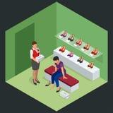 Frau am Schuhgeschäft Junge Frau, die Schuhe in einem Schuhgeschäft wählt Schuhstandhohe absätze Isometrische Vektor-Illustration Stockfotos