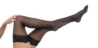 Frau - schwarze Strümpfe Stockbild