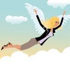 Frau schwebt in den Himmeln des Glückes Stockbild