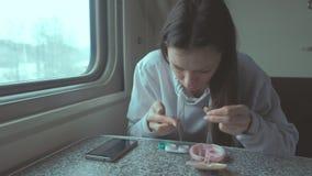 Frau setzt Kontaktlinsen in die Augen ein, die mit dem Zug auf eine Langstrecke reisen stock video